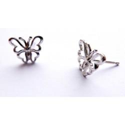 Boucles d'Oreilles Plaqué Argent Clous Puces Papillons