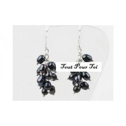 Boucles d'Oreilles Plaque Argent Pluie Perle Noire