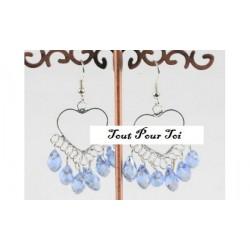 Boucles d'Oreilles Plaqué Argent Coeur Et Cristal Bleu