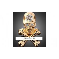 Bague plaqué or jaune tête de mort os