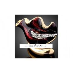 Bague plaqué or jaune Anthurium rouge Taille 59