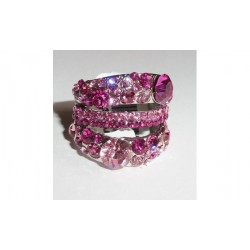 Bague anneau plaqué or blanc CZ rose T51