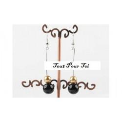 Boucles d'oreilles plaqué argent perle noire et or