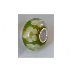 Perle verre Murano vert fleur blanche