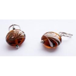 Boucles d'oreilles plaqué argent disque de verre marron