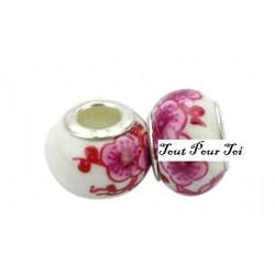 Perle porcelaine fleur rose x 2