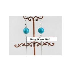 Boucles d'oreilles plaqué argent perle turquoise fil