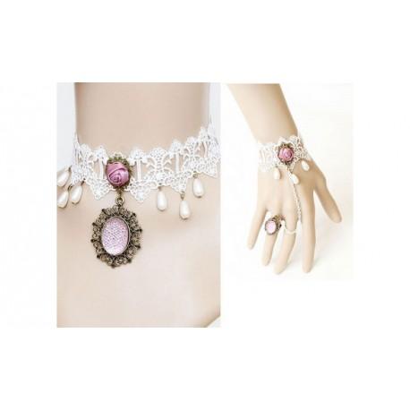 parure de main et collier dentelle blanc