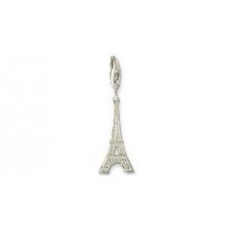 Pendentif charm plaqué argent Tour Eiffel