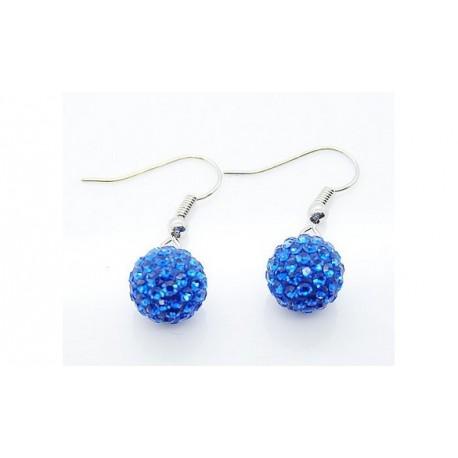 Boucles d'oreilles plaqué argent Shamballa bleu foncé