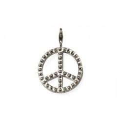 Pendentif charm plaqué argent Peace and Love