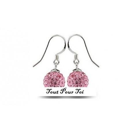 Boucles d'oreilles plaqué argent Shamballa rose