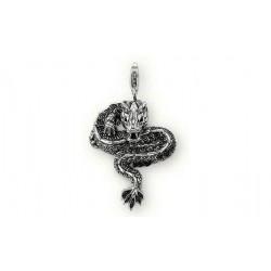 Pendentif charm plaqué argent dragon noir