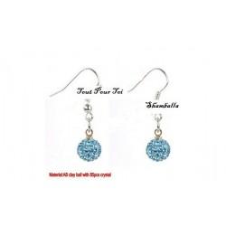 Boucles d'oreilles plaqué argent Shamballa bleu clair