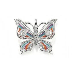 Pend plaqué argent papillon multicolore