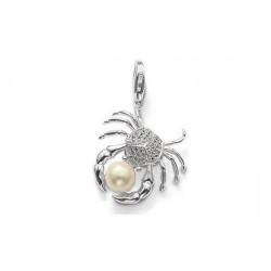 Pendentif charm plaqué argent crabe perle