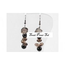 Boucles d'oreilles plaqué argent quartz fumé et perle