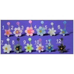 Piercing nombril fleurs acrylique