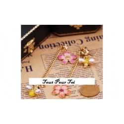 Boucles d'oreilles plaqué or fleur abeille 2 en 1