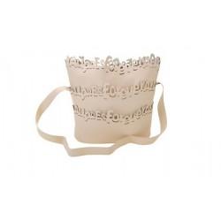 sac à main beige lettre relief