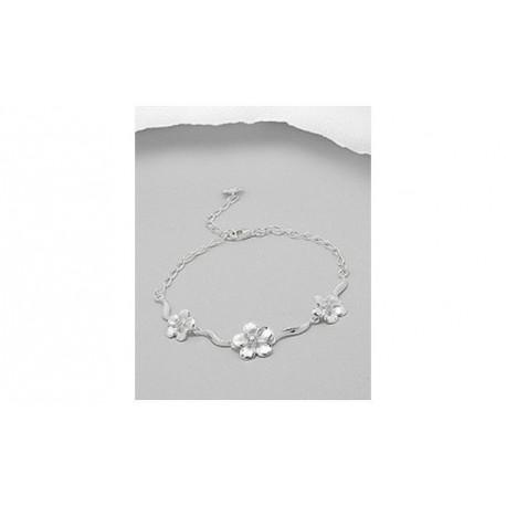 Bracelet argent trio de fleurs CZ
