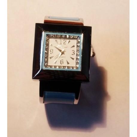 Montre acier Bracelet rigide argenté bleu strass cadran carré femme