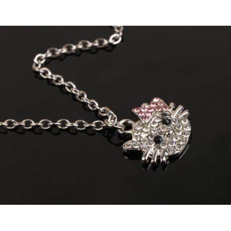 COLLIER TETE DE CHAT KITTY STRASS