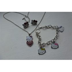 Parure Kitty Collier Boucles d'Oreilles Et Bracelet