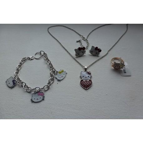 Parure Kitty Avec Collier Boucles d'Oreilles Bracelet Et Bague