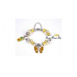 Bracelet style Pandora papillon jaune
