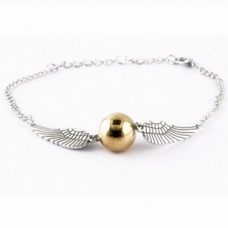 Bracelet Aile d'Ange Et Perle Métal Doré