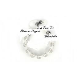 Bracelet Shamballa coton blanc
