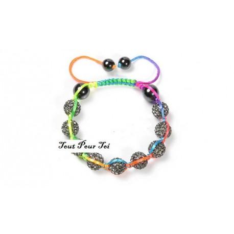 Bracelet Shamballa coton multicolore