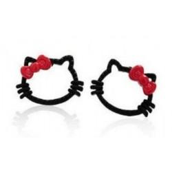 Boucles d'oreilles chat noir rouge